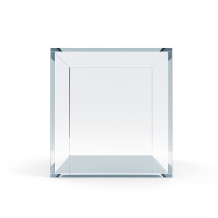 Empty Glass Cube isolated on white background Imagens