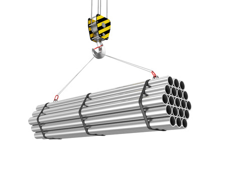 Crane Hook with Stack of Steel Metal Tubes isolated on white background photo