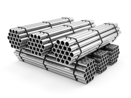 Stack of Steel Metal Tubes isolated on white background photo