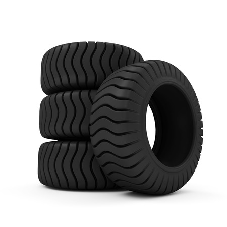 retreading: Big Heavy Tires isolated on white background