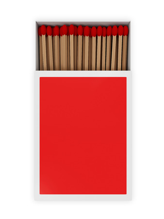 matchstick: Opened Red Matchbox isolated on white background  Top View