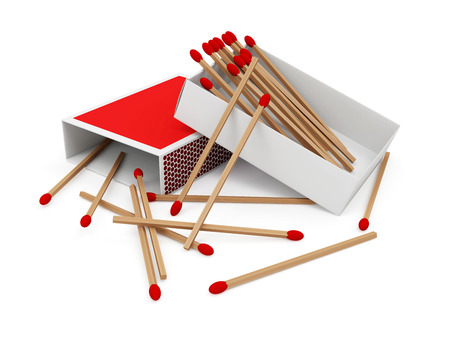 matchstick: Red Matchbox isolated on white background Stock Photo