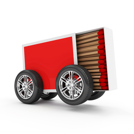 Red Matchbox on Wheels isolated on white background photo