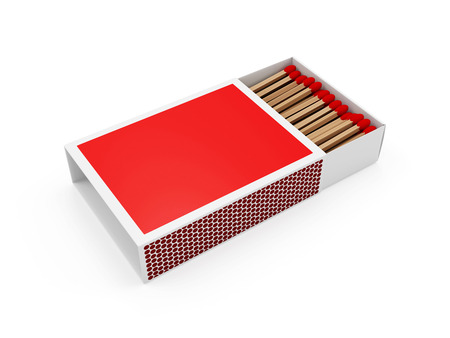 Red Matchbox isolated on white background Imagens