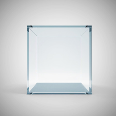 Empty Glass Cube on gradient background Imagens