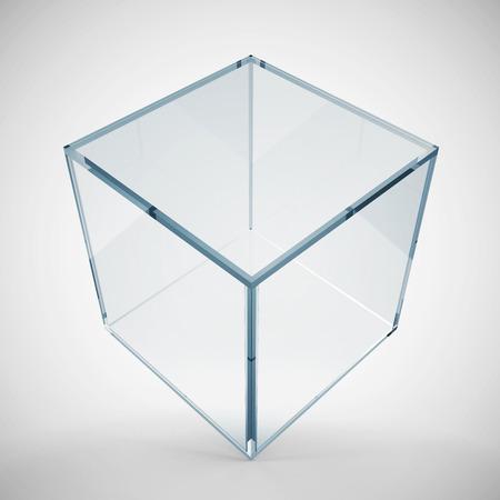 Empty Glass Cube on gradient background Stok Fotoğraf - 27981104