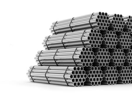 흰색 배경에 고립 된 철강 금속 튜브의 스택 스톡 콘텐츠