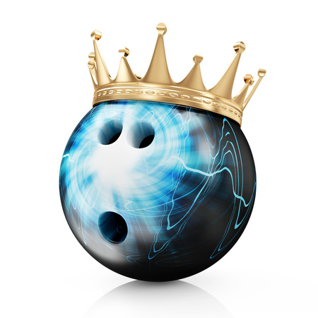 Golden Crown on Painted Bowling Ball isolated on white background  Bowling King Champion Concept Stock Photo