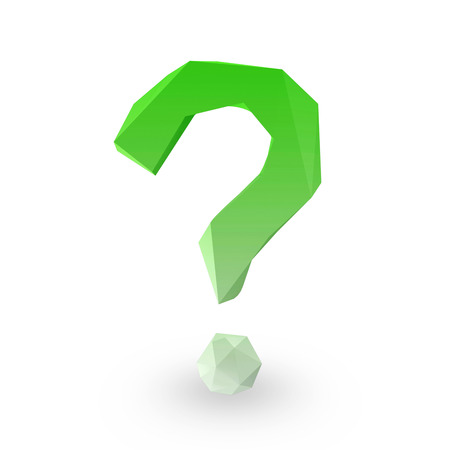 Green Origami Question Mark Symbol on white background photo