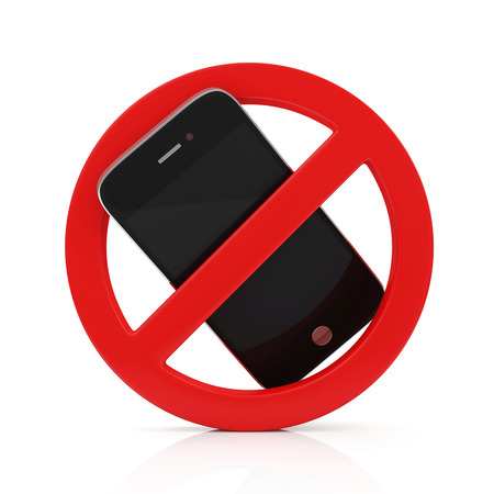 No Cell Phone Sign isolated on white background photo