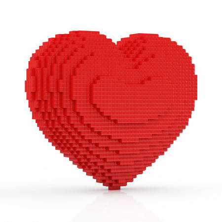 Red Heart in Pixel Style isolated on white background photo