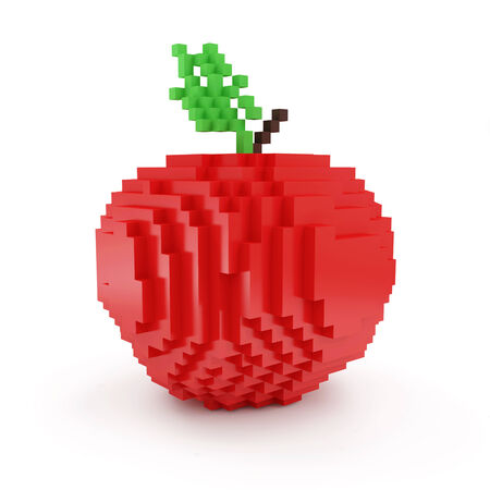 apple isolated: Red Apple in Pixel Style isolated on white background Stock Photo