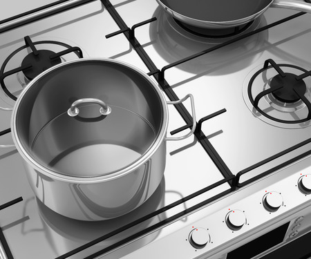 Gas Stove with Pans