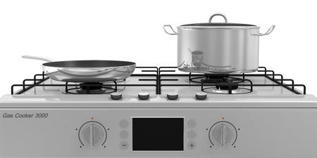 estufa: Cocina de gas con sartenes aisladas sobre fondo blanco