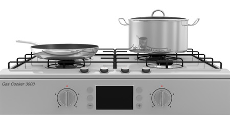 stoves: Gas Stove with Pans isolated on white background Stock Photo