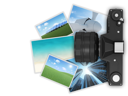 Retro Camera with Photos isolated on white background photo