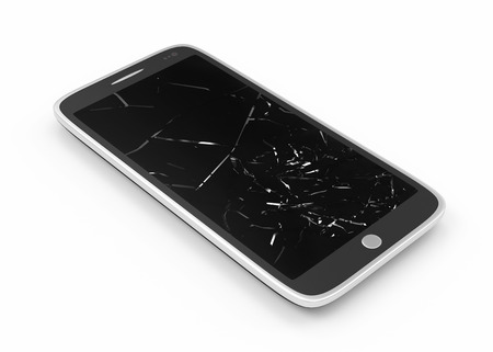 broken screen: Modern Smartphone with Broken Screen isolated on white background Stock Photo