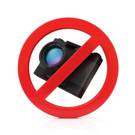 No Photo Camera Sign isolated on white background photo