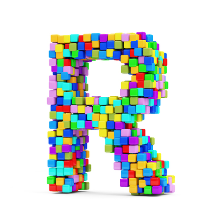Letters Made From Colorful Cubes isolated on white background  Letter R  photo
