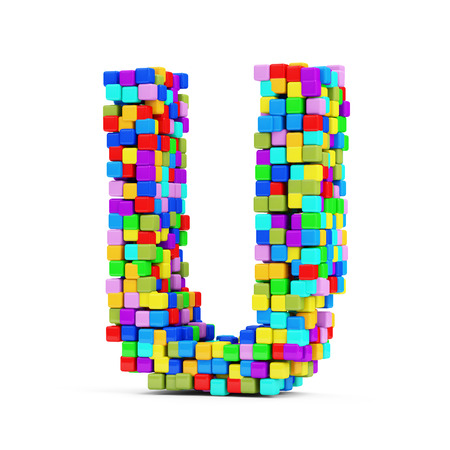 Letters Made From Colorful Cubes isolated on white background  Letter U  photo