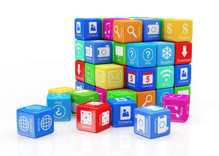 Abstract Cube Made From Application Icons isolated on white background  Mobile APPS Concept photo