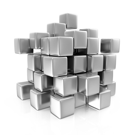 Abstract Metal Cubes isolated on white background photo