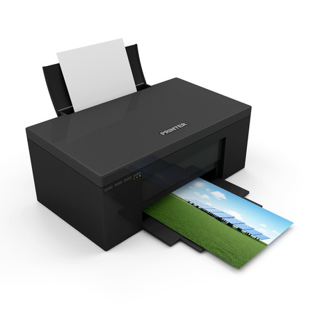 ink jet: Modern Printer with Blank Paper and Printing Photo isolated on white background