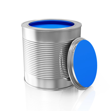 paint bucket: Opened Blue Paint Can isolated on white background Stock Photo
