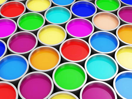 Tas de pots de peinture coloré fond abstrait Banque d'images