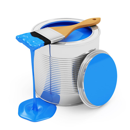 house painter: Opened Paint Can with Paintbrush isolated on white background