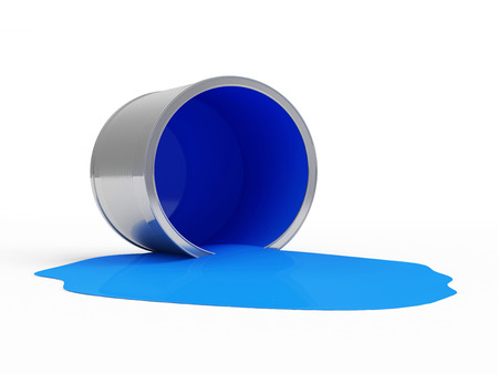 paint bucket: Spilled Blue Paint Can isolated on white background
