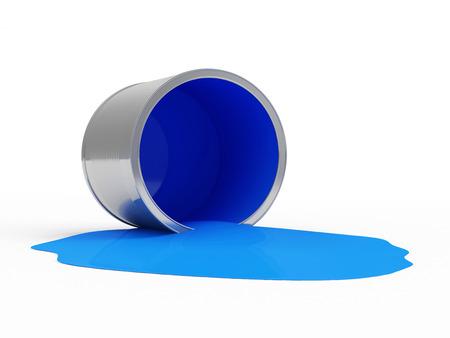 Versé peinture bleue peut isolé sur fond blanc