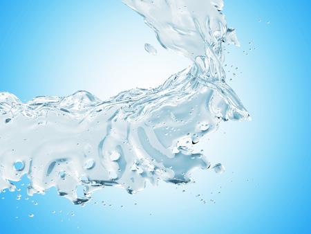 Blue Water Splash on blue gradient background Stock Photo