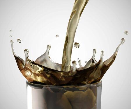 soda splash: Soda in Glass with Pouring Splash on gradient background Stock Photo