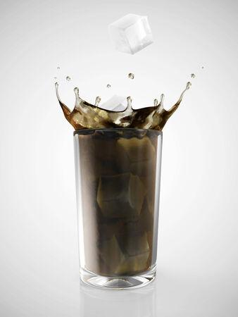 soda splash: Soda in Glass with Crown Splash on gradient background Stock Photo