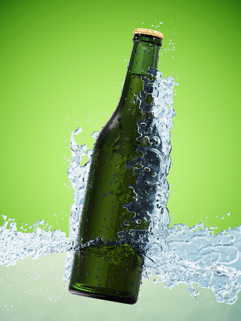 Bottle of Beer in Water on green gradient background photo