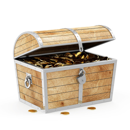 key to success: Treasure Chest with Golden Coins isolated on white background