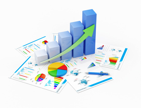 Business Financial Analytics Concept  Business Graph, Pie Chart and Financial Reports isolated on white background photo