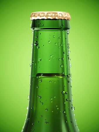 Close-up View on Bottle of Beer on green gradient background photo