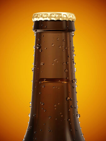 Close-up View on Bottle of Beer on gradient background photo