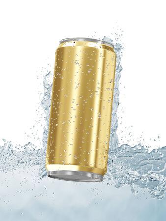 jarra de cerveza: Lata de cerveza en el agua aislado en el fondo blanco Foto de archivo