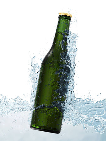 Bottle of Beer in Water isolated on white background photo