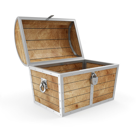 Empty Treasure Chest isolated on white background photo
