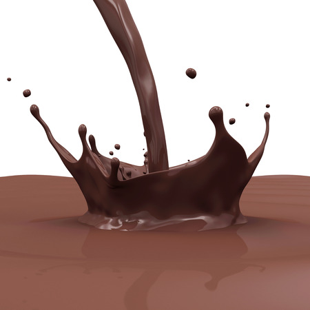 Pouring Chocolate Splash isolated on white background