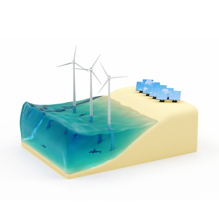 wind power plant: Alternative Energy Concept  Piece of Miniature Beach with Ocean, Windmills and Solar Panels isolated on white background Stock Photo
