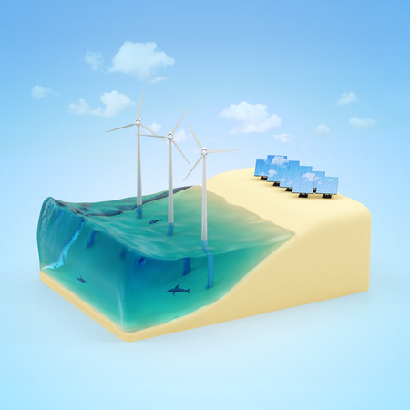 Alternative Energy Concept  Piece of Miniature Beach with Ocean, Windmills and Solar Panels on blue background with clouds photo