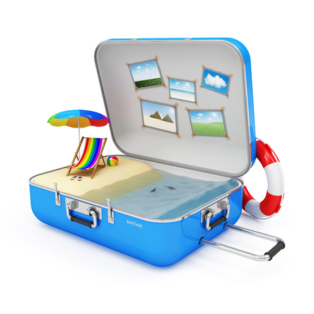 luggage pieces: Summer Vacation Concept  Piece of Paradise in Suitcase with Different Accessories for Vacation isolated on white background