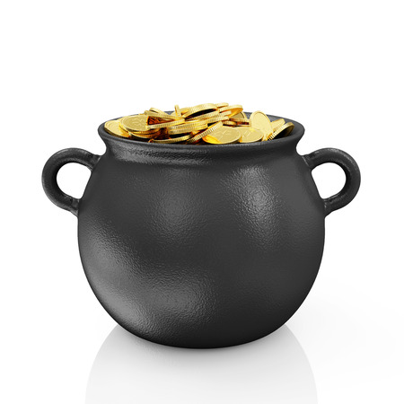 Iron Pot with Golden Coins for Traditional Irish holiday St  Patrick s Day isolated on white background  photo