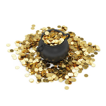pot of gold: Iron Pot full of Golden Coins isolated on white background Stock Photo