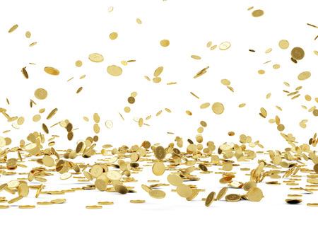 白い背景の上の黄金のコイン落下ゴールド コイン分離から雨します。 写真素材